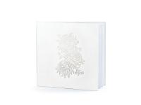 Gestabók - Hvít með silfurmynstri 20,5 x 20,5 cm. 22 bls. án texta image