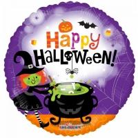 Álblaðra - Kringlótt 45cm - Happy Halloween Witch image