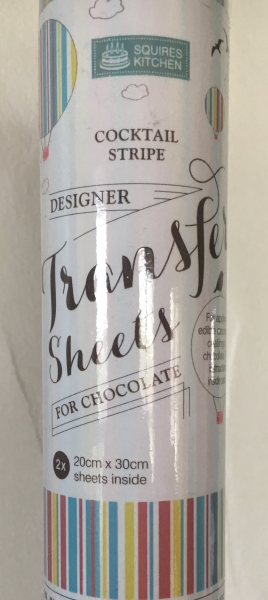Chocolate Transfer Sheets - 2 x 20x30cm - Cocktail Stripe