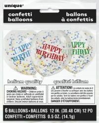 Blöðrur með confetti skrauti - Gegnsæjar 6stk - Happy Birthday Bland image
