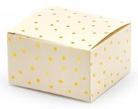 Gjafabox 6 x 3.5 x 5.5 cm - Fölbleik með gull doppum - 10 stk. image