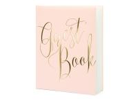Gestabók - Guest Book - Púður-Bleik og Gull 20,5 x 24,5 cm. 22 bls. án texta image