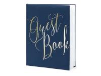 Gestabók - Guest Book - Dökk-Blá og Gull 20,5 x 24,5 cm. 22 bls. án texta image