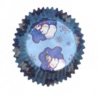 Muffinsmót (lítil) - Blá snjókarlamót 75 stk. image