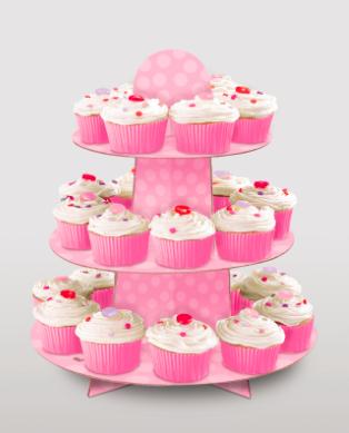 Cupcake standur - Bleikur með doppum