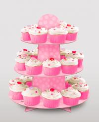 Cupcake standur - Bleikur með doppum image