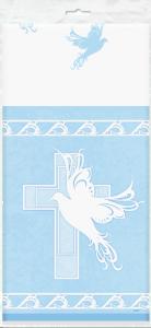 Plastdúkur - Blá dúfa og kross 135x275cm image