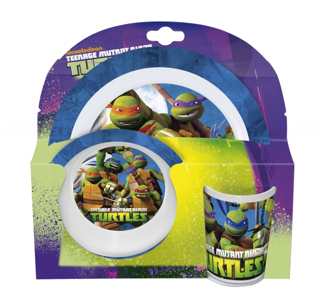 Melamin sett - diskur, skál og glas - Ninja Turtles image