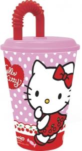 Glas úr plasti með loki og röri 430ml. - Hello Kitty image