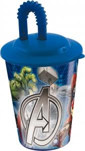 Glas úr plasti með loki og röri 430ml. - Avengers image