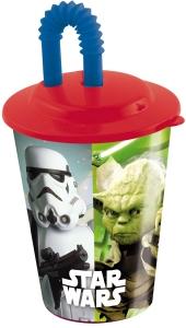 Glas úr plasti með loki og röri 430ml. - Star Wars image