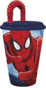 Glas úr plasti með loki og röri 430ml. - Spiderman image