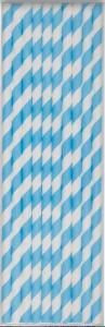 Papparör - Púðurblá röndótt 10 stk image