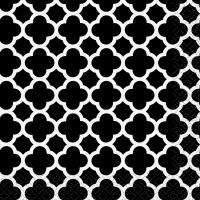 Servíettur, litlar - Miðnætursvartar Quatrefoil 16 stk image
