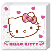 Servíettur - Hello Kitty Hearts - 33x33cm, 20stk. image