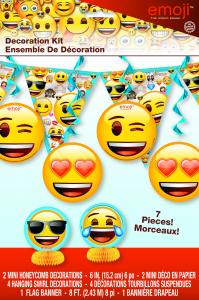 Emoji - Skreytingasett 7stk. - 1 fánalengja, 2 hunangsbú og 4 loftskraut image