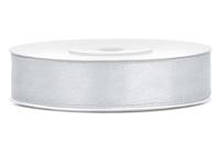 Satin-Borði - Tvöfaldur - 12mm, 25m. - Silfur image