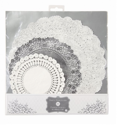 Kökublúndur - Party Porcelain Silver 24 stk