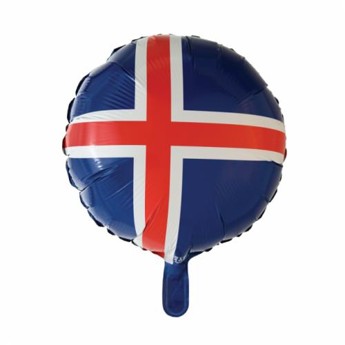 Álblaðra - Kringlótt 45cm - Íslenski fáninn